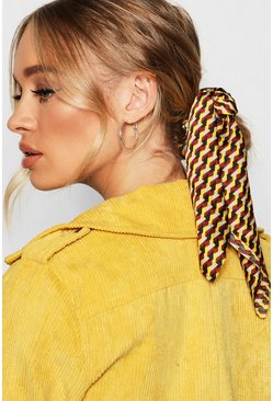 Womens Yellow Geometric Scarf Scrunchie Hair Tie