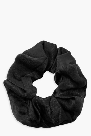 Womens Black Satin Shine Scrunchie