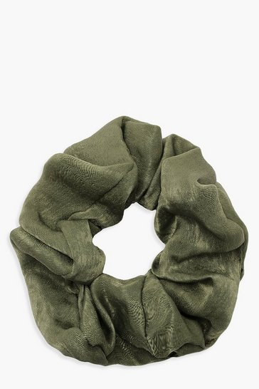 Green Satin Shine Scrunchie