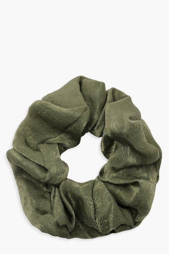Womens Green Satin Shine Scrunchie
