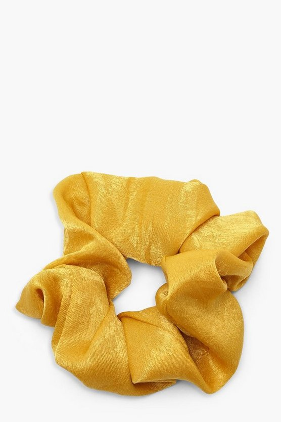 Womens Yellow Satin Shine Scrunchie