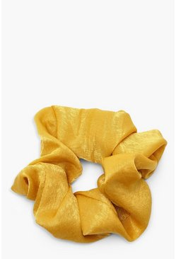Yellow Scrunchie i glansig satin