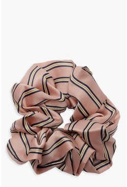 Womens Pink Satin Stripe Scrunchie
