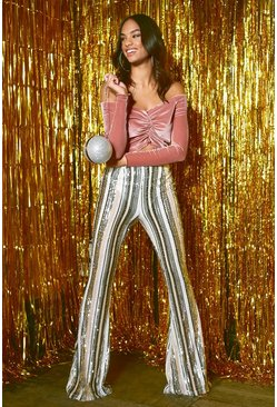 Womens Nude High Waist Stripe Sequin Flares