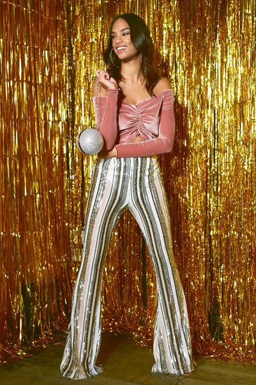 Nude High Waist Stripe Sequin Flares