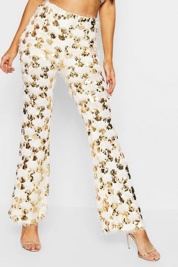 Womens Gold Tassel Disco Sequin Flares