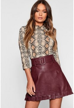 Burgundy Belted PU Frill Hem Leather Look Mini Skirt