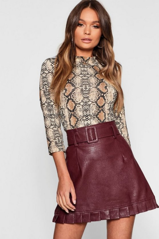 Belted PU Frill Hem Leather Look Mini Skirt