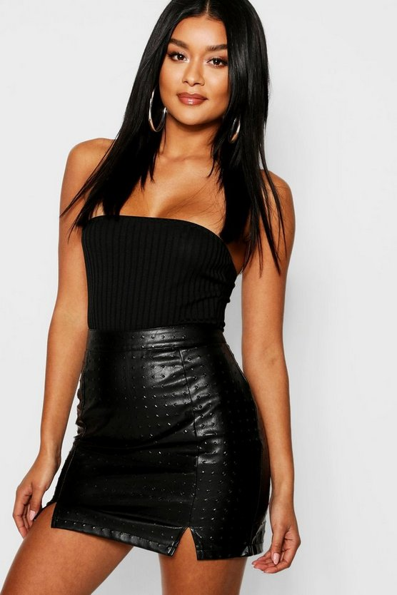 Textured PU Split Hem Leather Look Mini Skirt