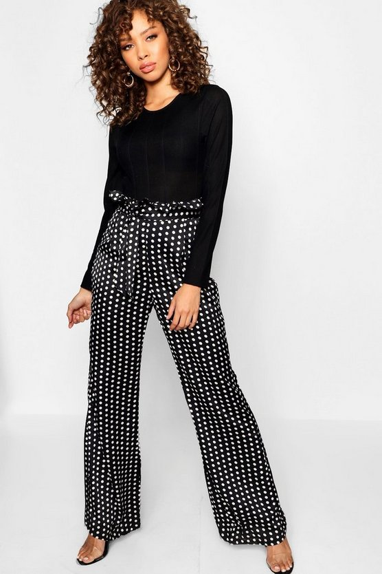 Satin Polka Dot Paperbag Belted Trouser
