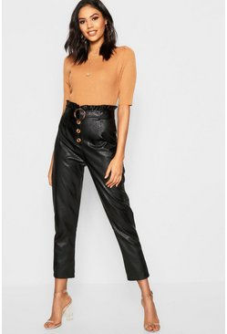Black Leather Look Mock Horn Button Paperbag Pants