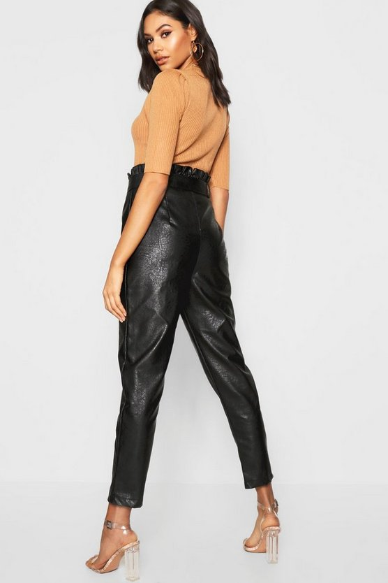 Leather Look Mock Horn Button Paperbag Trouser