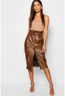 Womens Tobacco Leather Look Mock Horn Button Paperbag Midi Skirt