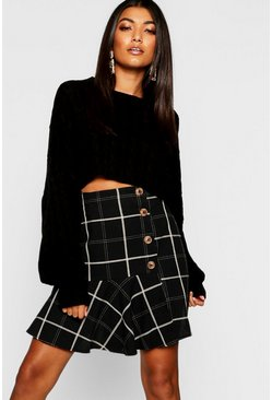 Womens Black Grid Check Mock Horn Button Asymetric Mini Skirt