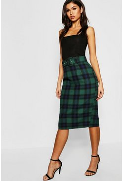 Womens Green Tartan Check Belted Midi Skirt