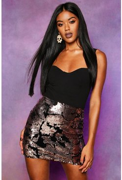 Womens Bronze Velvet Sequin Mini Skirt