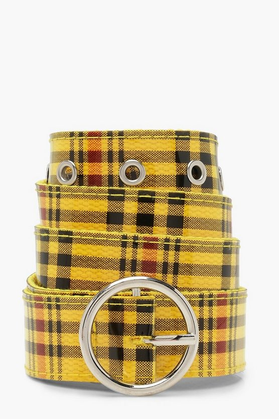 Womens Yellow Circle Buckle Check Belt