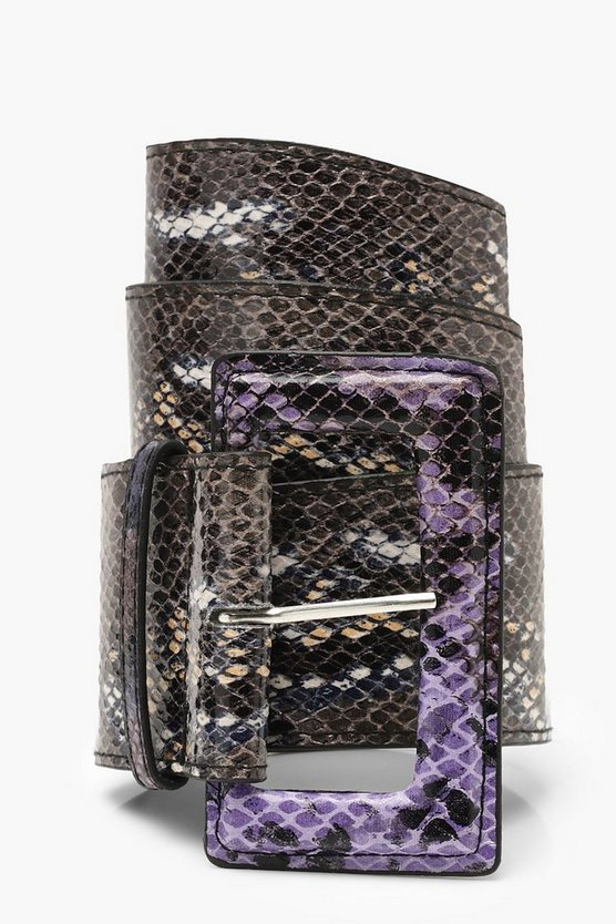 Womens Black Multi Colour Snake Wide Waist Belt