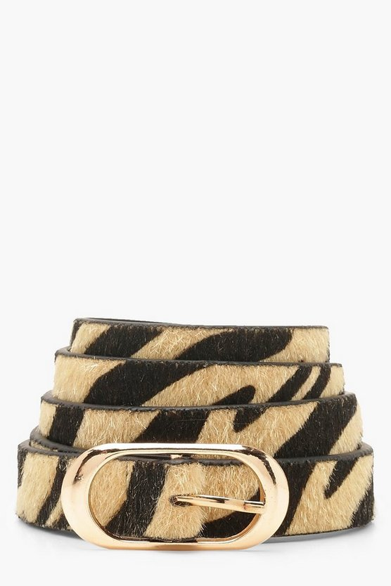 Womens Natural Zebra Print Gold Buckle Belt