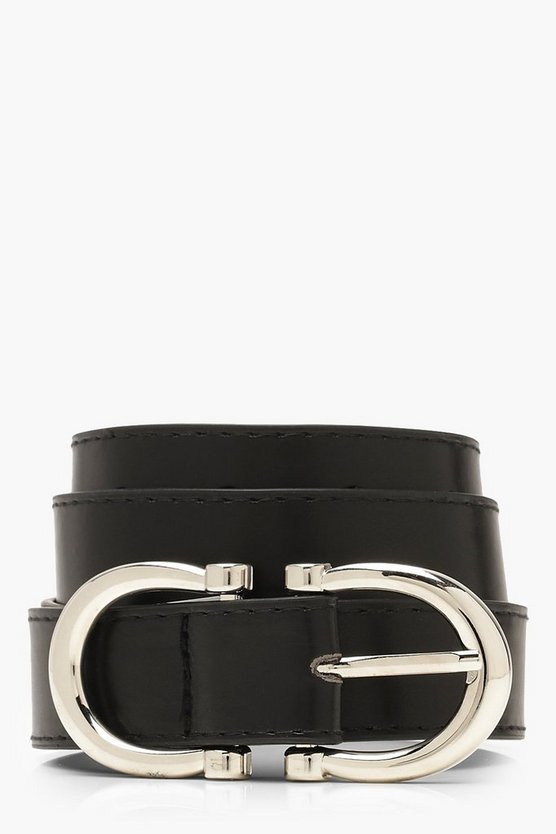 Womens Black Double Horseshoe Ring Belt
