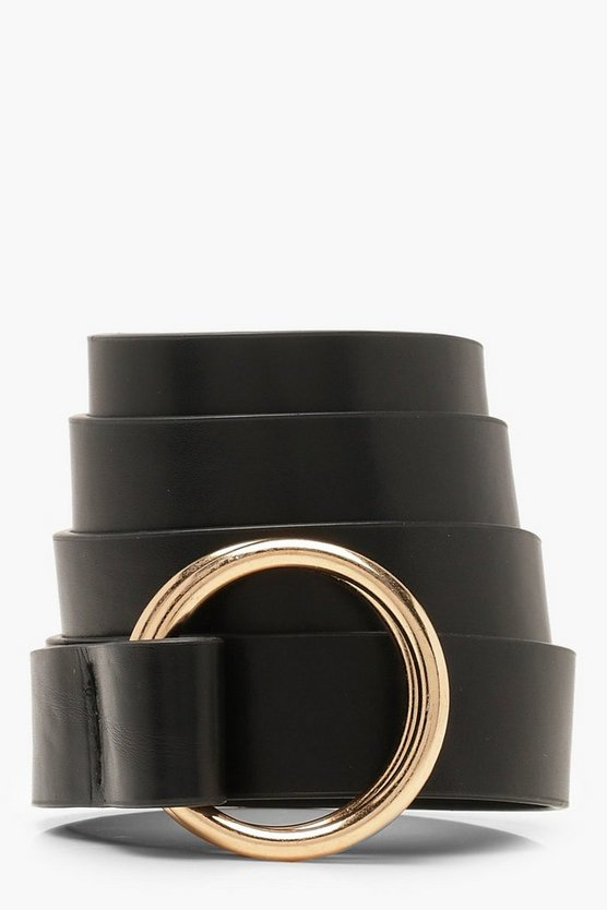 Black Double Ring Skinny Belt