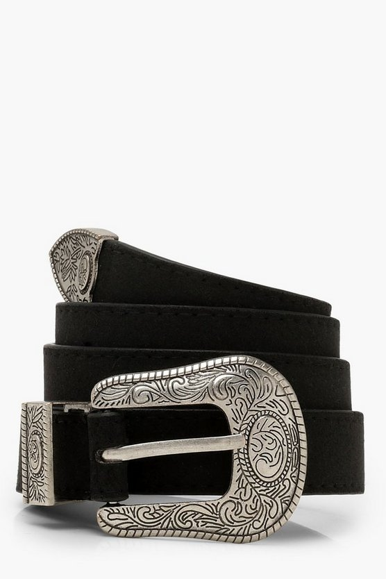 Womens Black Western Buckle Belt