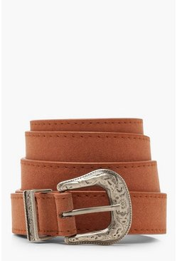 Womens Rust Western Buckle Belt