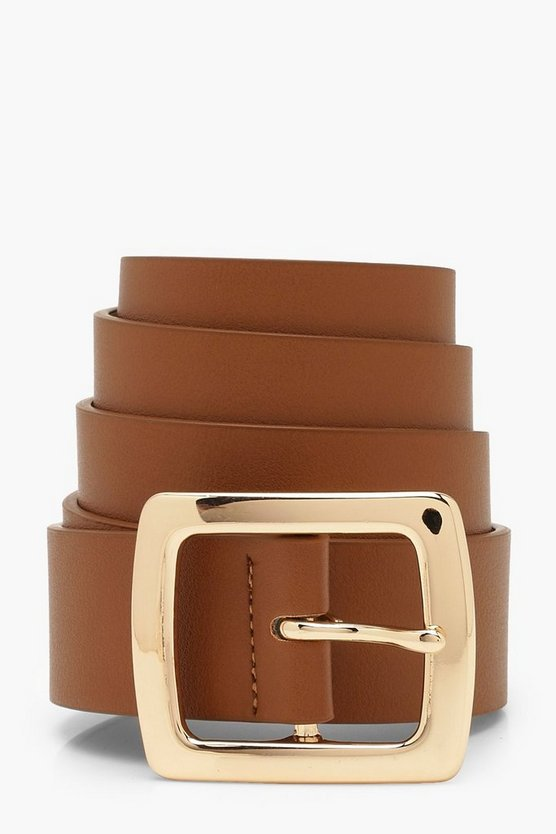 Womens Tan Gold Buckle Belt