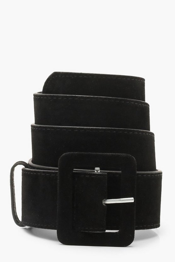 Womens Black Rectangle Buckle Belt