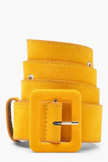 Womens Mustard Rectangle Buckle Belt