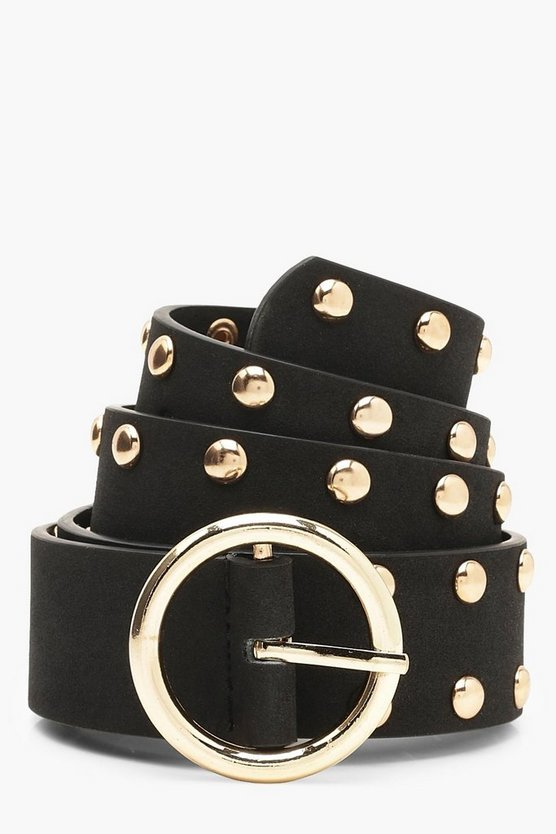 Womens Black Studded Circle Buckle Belt