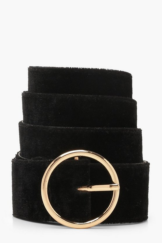 Womens Black Circle Ring Buckle Belt
