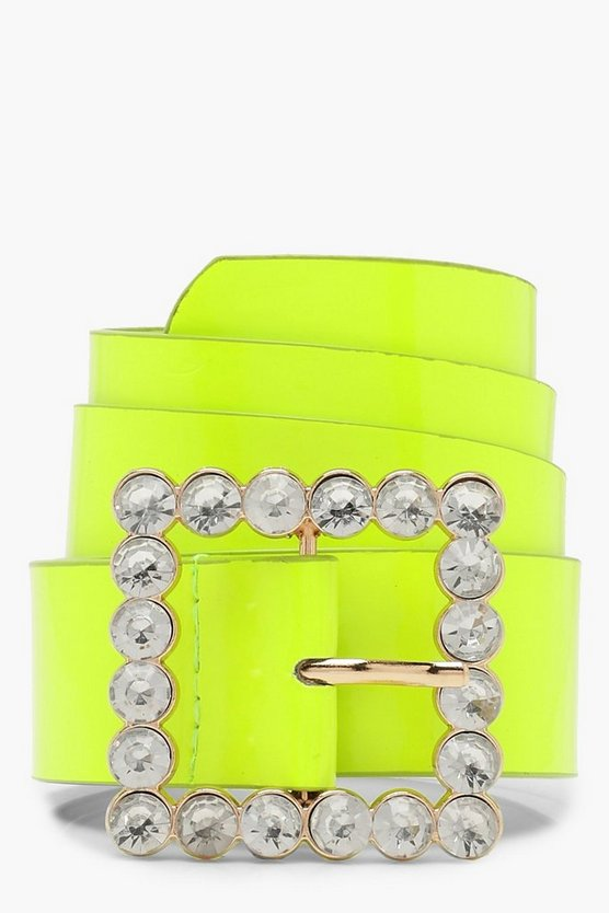 Womens Lime Embellished Buckle Neon Belt