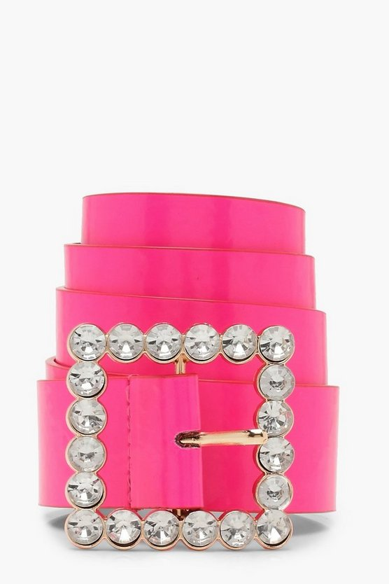 Pink Embellished Buckle Neon Belt