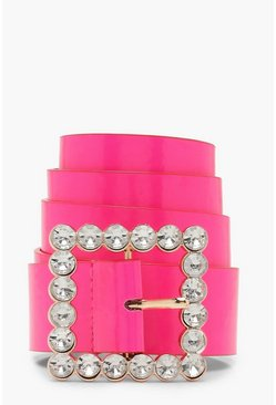 Womens Pink Embellished Buckle Neon Belt