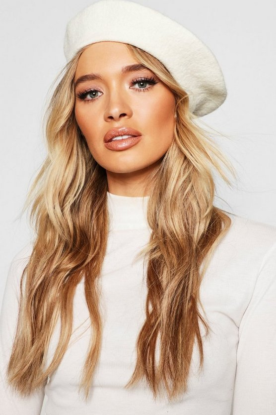 Womens Cream Beret Hat