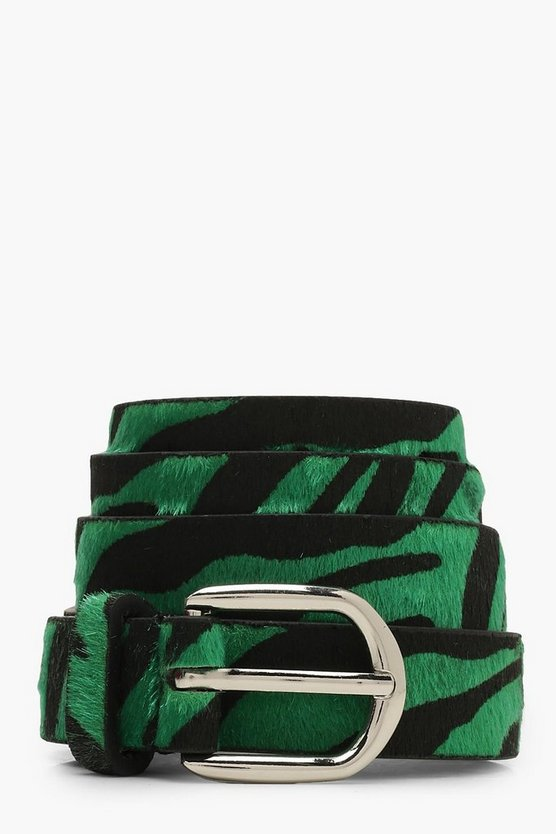 Womens Green Zebra Print Belt