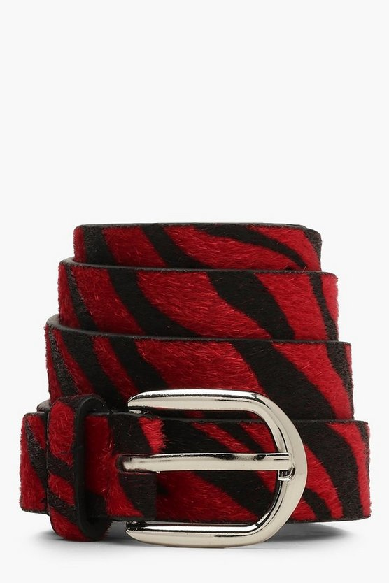 Womens Red Zebra Print Belt