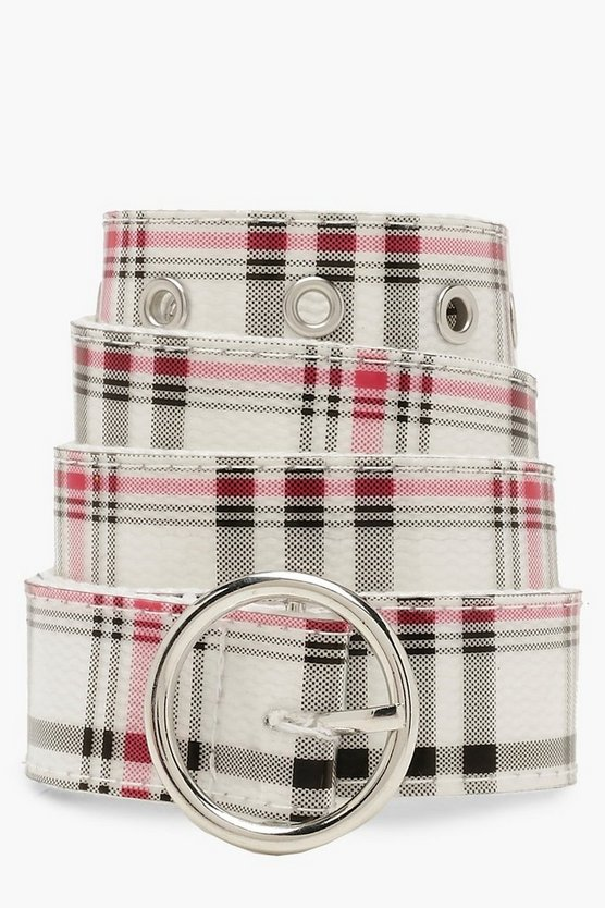 Womens Natural Circle Buckle Check Belt