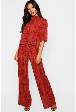 Womens Rust High Neck Snake Print Top + Wide Leg Pants Co-Ord