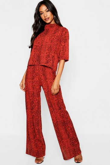 Womens Rust High Neck Snake Print Top + Wide Leg Trouser Co-Ord