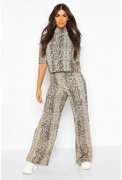 High Neck Snake Print Top + Wide Leg Trouser Co-Ord, Stone