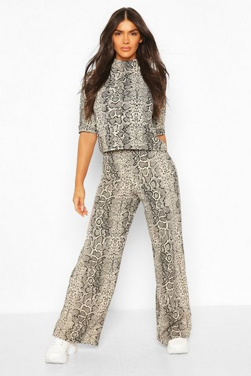 Stone High Neck Snake Print Top + Wide Leg Trouser Co-Ord