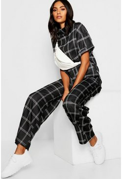 Womens Black Checked Top + Wide Leg Trouser Co-Ord