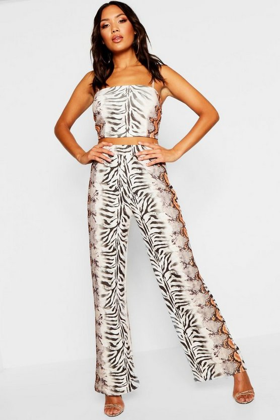 Animal Mix Print Top + Trouser Co-Ord