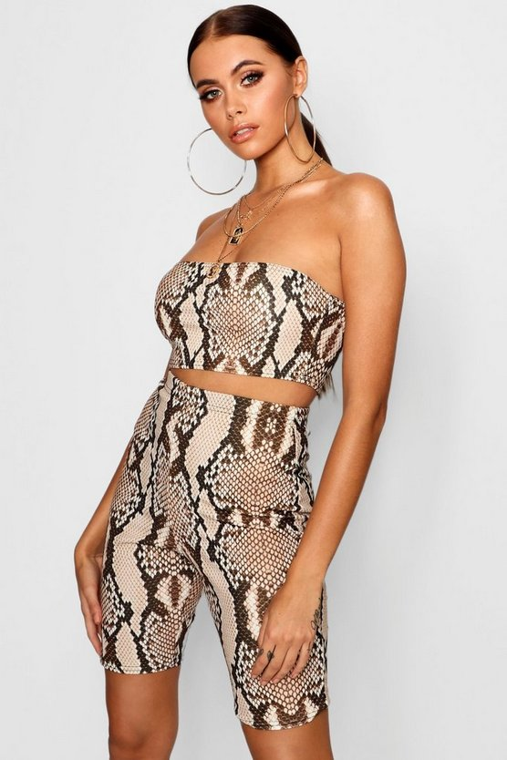 Womens Stone Snake Print Bandeau + Cycling Short Co-Ord