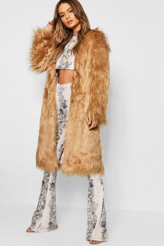 Sand Shaggy Faux Fur Coat
