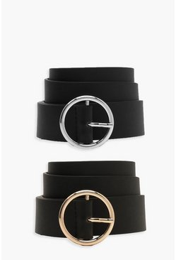 Womens Black 2 Pck Circle Buckle Belt