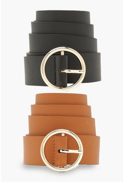 Multi 2 Pck Circle Buckle Belt