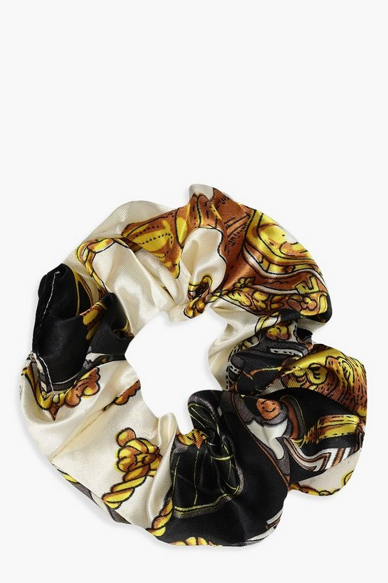 Womens Black Chain Print Scrunchie